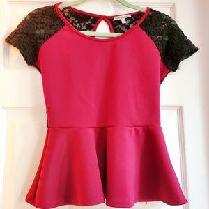 Red Peplum Open Back Shirt